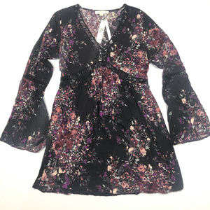 NWT Lovestitch Burgundy Purple Floral Crochet Dres